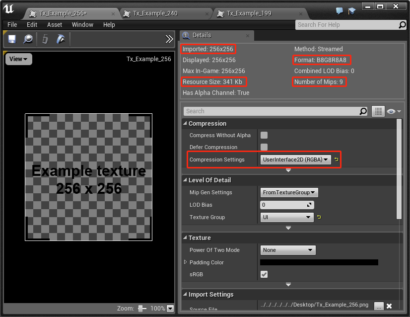 With texture compression manually disabled for our 256px texture, the resource size increases from 85Kb to 341Kb.