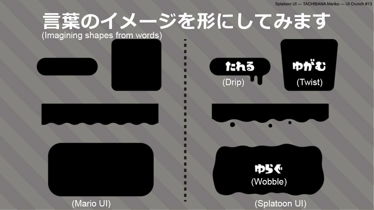 Splatoon communicates its world's drippy feel through UI shapes. Compare them with Mario's shapes on the left. Image from [Splatoon UI talk](http://careerhack.en-japan.com/report/detail/965).